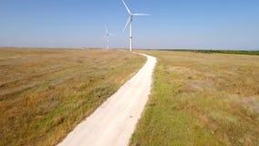 Wind turbine farm field hd aerial. stock video