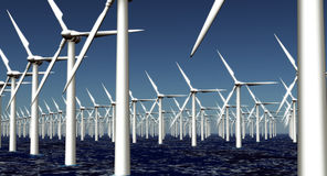Wind Turbine farm. Hundreds of offshore wind turbines Royalty Free Stock Image
