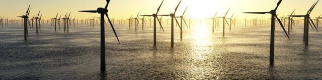 Wind Turbine farm. Hundreds of offshore wind turbines stock illustration