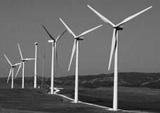 Wind turbine farm. Image of wind turbine farm with blue sky Royalty Free Stock Images