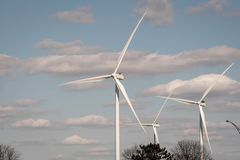 Wind turbine farm in Indiana. At State Road 43, shot in 2018 Royalty Free Stock Image