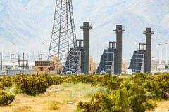 Wind Turbine Farm Industrial Site. In the California Desert Stock Photos