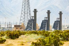 Wind Turbine Farm Industrial Site. In the Desert Royalty Free Stock Photography