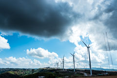 Wind turbine farm on the mountain Royalty Free Stock Images