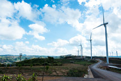 Wind turbine farm on the mountain Stock Photos