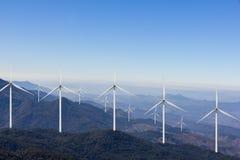 Wind turbine farm on mountain. Wind turbine farm on high mountain Stock Photography