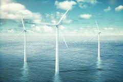 Wind turbine farm in the ocean Stock Photography