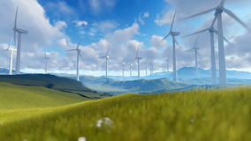 Wind turbine farm over green meadow against cloudy sky stock video footage
