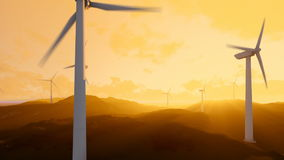Wind turbine farm over green meadow, rays of light at sunset, dolly shot stock video