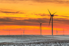 Wind turbine farm over sunset Stock Images