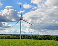 Wind turbine farm. A panaoramic view of a wind turbine farm Royalty Free Stock Photos