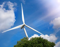 Wind Turbine Farm with Sunlight : Motion Processed Royalty Free Stock Photo