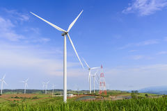 The wind turbine farm on the top of mountain Stock Photos