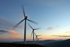 Wind Turbine Farm Turning Stock Images