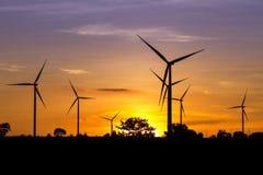Wind Turbine Farm at Twilight Royalty Free Stock Photo