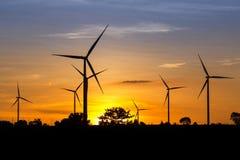Wind Turbine Farm at Twilight Stock Image