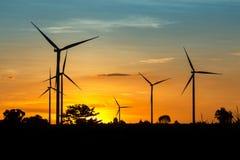 Wind Turbine Farm at Twilight Stock Images