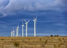 Wind turbine farm. Under the blue cloudy sky Stock Photo