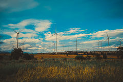Wind Turbine Farm, Wind Energy Concept. Stock Photo