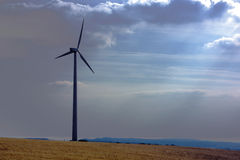 Wind turbine in field Stock Image