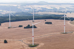 Wind turbine on a field, aerial photo Stock Photography