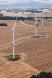 Wind turbine on a field, aerial photo Stock Photo