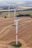 Wind turbine on a field, aerial photo Royalty Free Stock Photo
