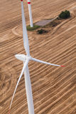 Wind turbine on a field, aerial photo Royalty Free Stock Photography