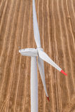 Wind turbine on a field, aerial photo Royalty Free Stock Photos