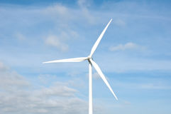 Wind turbine on a field, close up stock image