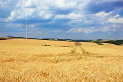 Wind turbine in a field Royalty Free Stock Photo