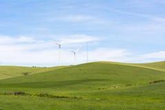 Wind turbine in the field, power generation wind farm Stock Photo