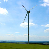 Wind turbine in the field Royalty Free Stock Image