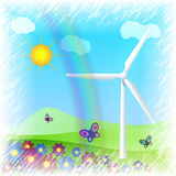 Wind turbine on field Royalty Free Stock Photography