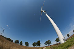 Wind turbine on fisheye Royalty Free Stock Images