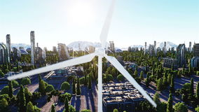 Wind turbine. futuristic city, town. The concept of the future. Aerial view. Super realistic 4k animation.