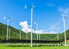 Wind turbine. Generating electricity with solar cells Stock Image