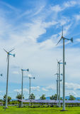 Wind turbine. Generating electricity with solar cells Royalty Free Stock Photos