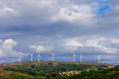 Wind turbine generators on top a hill Royalty Free Stock Photo