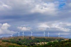 Wind turbine generators on top a hill Royalty Free Stock Photo
