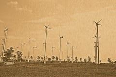 Wind turbine generators. Stock Photo
