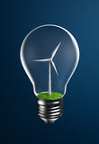 Wind Turbine on Grassland Inside a Light Bulb Royalty Free Stock Photo