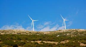 Wind turbine, greece stock image