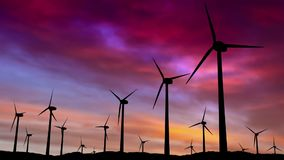 Wind turbine green energy farm at sunset - 3d animation.