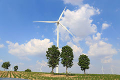 Wind turbine on the green grass over the blue clouded sky Royalty Free Stock Photo
