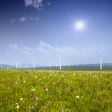 Wind turbine on the green grass over the sky Royalty Free Stock Image