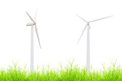 Wind turbine on green grass  on white Stock Images