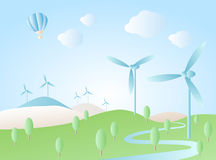 Wind turbine on green hill Royalty Free Stock Images
