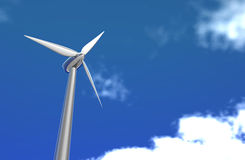 Wind turbine and green world Stock Photos
