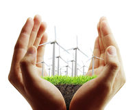Wind turbine in  hand Royalty Free Stock Photography